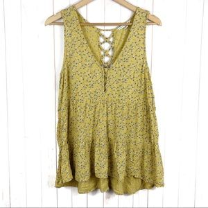 American Eagle Yellow Floral Tank Top Size M